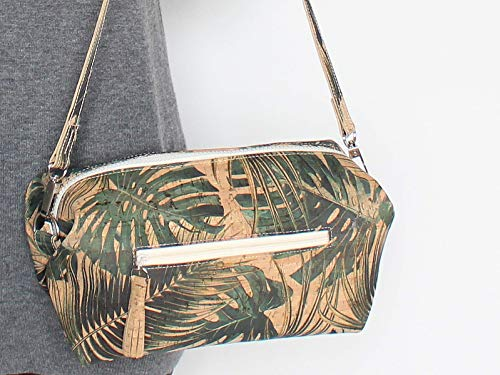 Kork Handtasche, Monstera Umhängetasche, vegan, schwarze Schultertasche, Geschenk, - 6