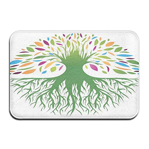 ITSHHMB Water Absorbent Bath Mat Non-Slip Rubber Back Microfiber, Multi Colored Round Abstract Tree Life and Soul Symbol Eco Nature Design,for Living Room Rugs Bedroom - Moen-symbol