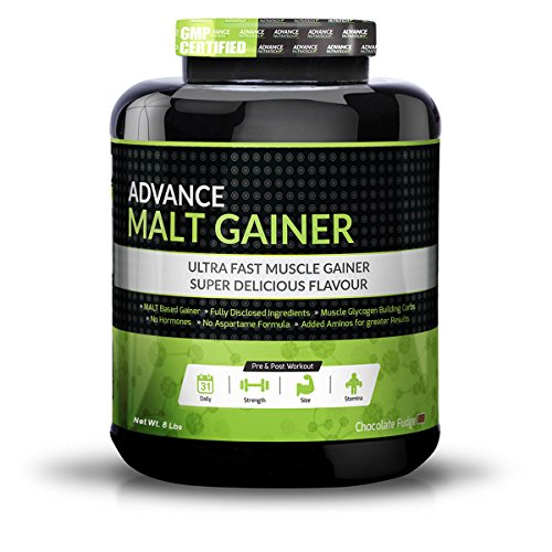 Advance Nutratech Pre & Post Workout Malt Gainer Muscle Building Chocolate Flavor Protein Powder 8 Lbs
