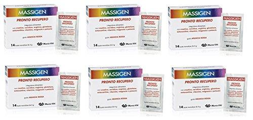 6 MASSIGEN PRONTO RECUPERO 14 BST MAGNESIO E POTASSIO Integratore Alimentare combatte l'affaticamento senza glutine, lattosio, coloranti