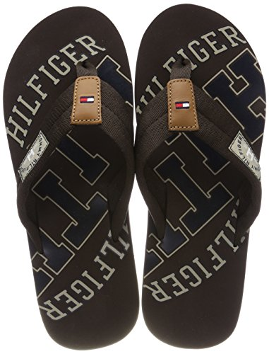 Tommy Hilfiger Herren Essential TH Beach Sandal Zehentrenner, Braun (Coffee Bean 212), 43 EU