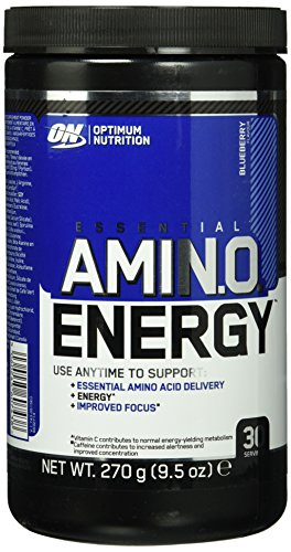 Optimum Nutrition Amino Energy Pre Workout Booster Pulver (mit Beta Alanin, natürliches Koffein, Aminosäuren und Vitamin C von ON) Blueberry, 30 Portionen, 270g