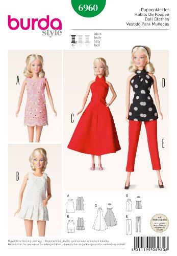 Burda B6960 - Cartamodello per abiti da bambola, 19 x 13 cm (lingua inglese)