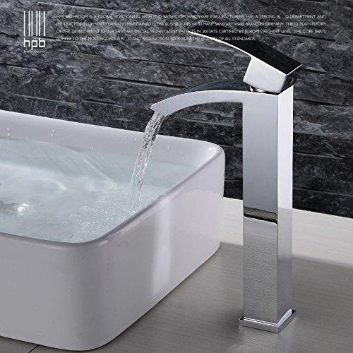 Hp-mixer (Retro Deluxe FaucetingHpb Wasserfall Bad Armatur einzigen Griff Waschbecken Wasserhahn eine Bohrung Messing zeitgenössische Hotel Square Style Mixer Hp 3120 Tippen Sie auf)
