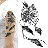 LUFA 4pcs del lobo Dreamcatcher Brazo Etiqueta Personlized pegatinas tatuaje temporal