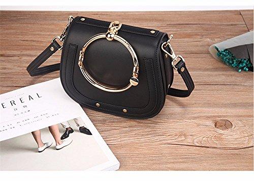 Single Schulter obliquer Querschnitt Tasche Leder ring Sattel Tasche Leder Lady pack Schulter schräg Cross Fashion vintage Tasche Schwarz
