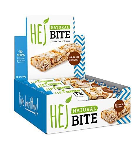 HEJ Natural Bite Organic Coconut - Nussriegel Bio - Ohne zugesetzten Zucker - Energieriegel - Aus 100% Naturprodukten - Veganer Nussriegel - Gesunder Snack - Power Riegel - 1er Pack (12 x 40g). -