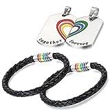 Aroncent 4PCS Herren Damen Schmuck Set, Regenbogen Rainbow charms Kette Halskette Armband Armreif Armschmuck Handgelenk, Leder Edelstahl, Mehrfarbig