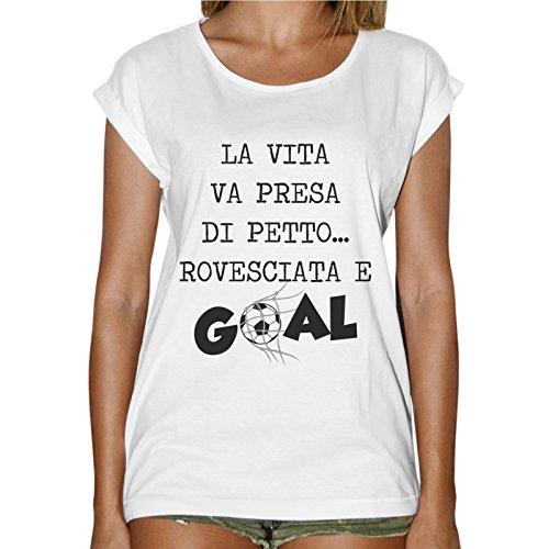 T-Shirt Donna Fashion La Vita Va Presa Di Petto Rovesciata E Goal Bianco