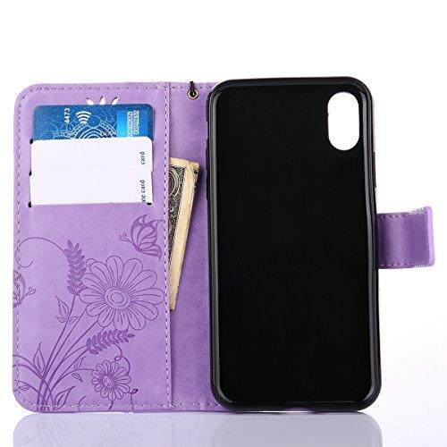 detailed look cce94 77ba2 EUWLY Custodia In Pelle Per iPhone X, Retro Fiore farfalla Modello Design  Cover Wallet Case Custodia ...