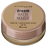 Maybelline Dream Matte Mousse Make-up Nr. 48 Sun Beige, mattierendes Make-up mit luftgeschlagener Mousse-Textur, für ein luftig-leichtes Tragegefühl und wunderbar zarte Haut, 18 ml