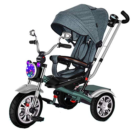 L@LILI Triciclo para niños 1-3-6 años de Edad Cochecito Ligero Giratorio Asiento/reclinable/con Luces...