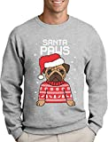 Green Turtle T-Shirts Santa Paws Pfoten - Mops Süßer Herren Weihnachtspullover Sweatshirt X-Large Grau