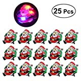 OULII 25Pcs Christmas Santa Claus Badge Brooch with LED Light for Christmas Children Gift Party Favors