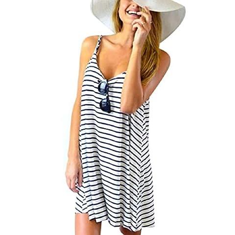 FEITONG Women Sleeveless Striped Loose Mini Dress Beach Party Casual Sundress (XL, Blue)