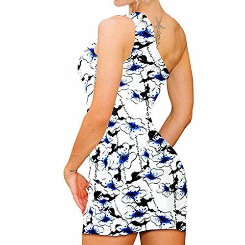 Elegante Damen Ein Schulter Druck Kurzminikleid Schlank Bodycon Partei Clubwear Drucken 10