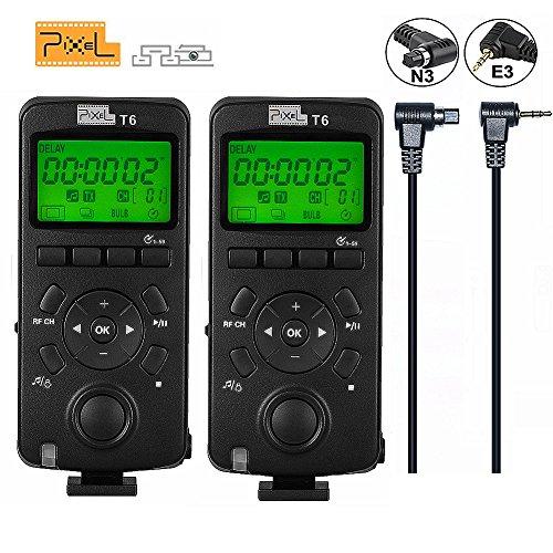 Pixel 2PCS 2.4GHz Disparador inalámbrico Temporizador de liberación Transceptor Pantalla LCD de control remoto (Actualización de la versión de TW283) para Canon EOS 7D 50S 1DS 6D 50D 40D 1100D 600D 550D 500D