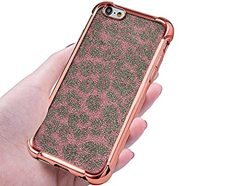 NWNK13® iPhone 6 / 6S (4.7 inch) Raised Unique Crystal / Soft / Flexible / Gel / Silicone TPU Back Case Cover With Front Temper Screen Protector Plus Branded Card Organiser (Leo / Rose Gold)