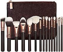 Z-O-E-V-A cepillos del maquillaje 15pcs La marca de fábrica profesional del lujo de oro de Rose compone el kit de herramientas La mezcla del polvo cepillos cosméticos CONJUNTO DE LUJO?marrón?