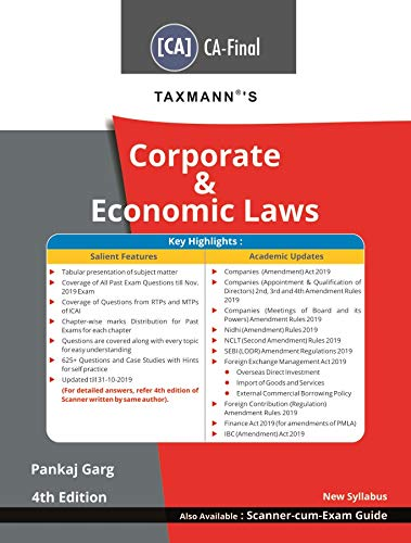 Taxmann's Corporate & Economic Laws (CA-Final-New Syllabus)(4th Edition 2020)