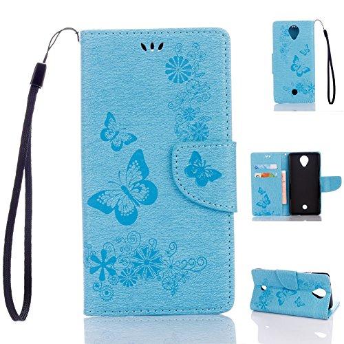 Wiko U Feel Handyhülle Book Case Wiko U Feel Hülle Klapphülle Tasche im Retro Wallet Design mit Praktischer Aufstellfunktion - Etui Grün