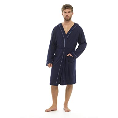 Foxbury Mens Lightweight Cotton Rich Hooded Dressing Gown Robe ...