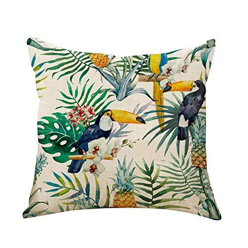comprare on line Outflower - Federa copricuscino, motivo: foglie tropicali, fiori e uccelli, stampati, per camera / salotto / ufficio / auto / divano, 45x 45cm prezzo