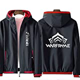73HA73 Felpa da Uomo con Cappuccio e Zip Warframe Jacket Manica Lunga Confortevole Sweatshirt Unisex Giacca (No Shirt),Black-Red,5XL(195-200cm)