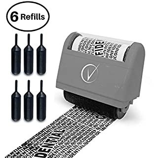 Vantamo Identity Theft Protection Roller Stamp Wide Kit, Including 3-Pack Refills - 2017 Design for Secure Confidential ID Blackout Security, Anti Theft and Privacy Safety - Classy Gray