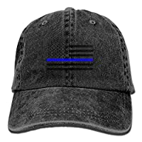 Qian Mu888 Support The Police Thin Blue Line American Flag Unisex Adjustable Sport COWBOY HAT