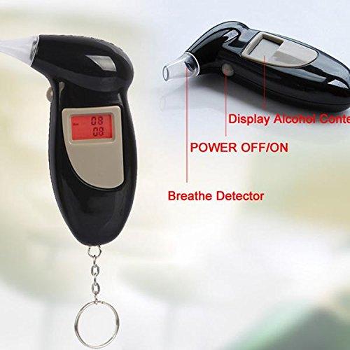 Divinext Alcohol Breath Analyser Tester/Breath-Analyzer. Back Lit Digital LCD Display, 11x7x2.5 cm, Black