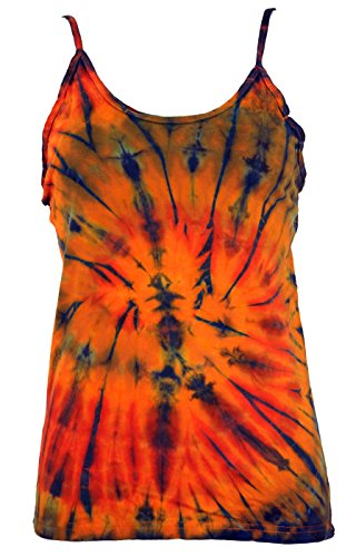 Guru-Shop Farbenfrohes Goa-Batik Top, Batiktop, Damen, Orange, Baumwolle, Size:36, Tops, T-Shirts, Shirts Alternative Bekleidung