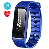 OMorc Bracelet Tracker d'Activité avec Cardiofréquencemètre, Bracelet Connecté Bluetooth 4.0 Montre Smart pour Sport Fitness, Montre Connectée avec Podomètre Traqueur de Sommeil Compatible avec Android et IOS Smartphone - Bleu