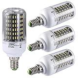 Liqoo® 4 x E14 12W Bombilla LED Lámpara de Maíz Blanco Frío 6000K AC 85-265V Ángulo de visión 360° 870 Lumen No Regulable Sustituye la lámpara Halógena de 65W