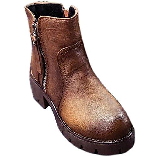 Minetom Mujer Vintage Martín Botas Británico Estilo Zapatos Lado Cremallera Botas Marrón 39