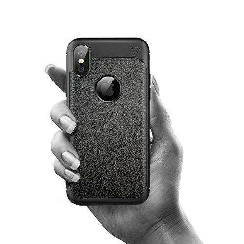 iPhone X Handycover, MOONMINI Ultra Dünn Soft TPU Silicone Stoßfest Slim Fit Handy Tasche Case Anti-Kratzer Schutzschale Anti-Drop Full Body Schutzhülle für iPhone X Dunkelblau Schwarz