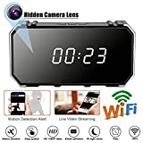Rabusion 4K Camera 1080P WiFi HD Mirror Wireless Security Alarm Clock with Night Vision