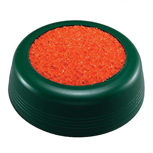 Herlitz 8757650 runder grüner Anfeuchter mit orangem Schwamm, Durchmesser 60 mm