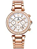 Alienwork Montre quartz nacre femme Or rose strass Métal blanc or rose K005LA-03
