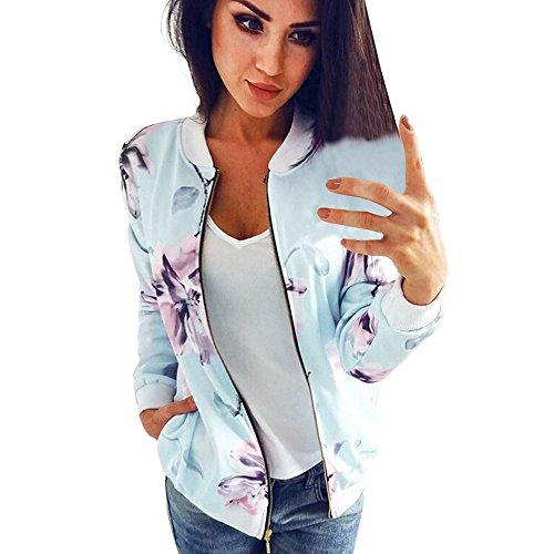 Damen Blazer Strickjacke Sweatshirt mit Reissverschluss Streetwear Frühling Blouson MYMYG Floral Baseball Mantel Tops Coat Bomberjacke Bikerjacke Fliegerjacke Kurzjacke (Hellblau, EU:42/CN-XL) (Mädchen Mäntel Rot)
