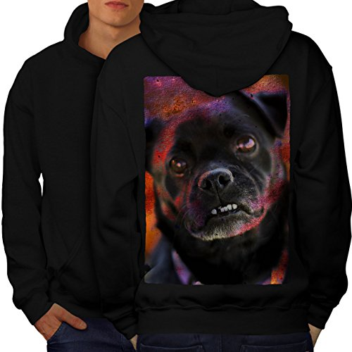 Wellcoda Dog Face Cute Art Animal Men Black XL Hoodie Back