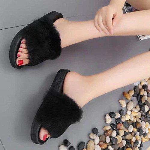 Amlaiworld Femmes Filles Semelle Plate En Caoutchouc Fourrure Duveteuse Faux Pantoufle Noir