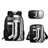 JKAINI Zaini per Bambini Juventus Printed Borsa per Computer da 15.6 Pollici, Zaino + Borsa per Messenger + Pacchetto di Astucci per Matite,G-OneSize