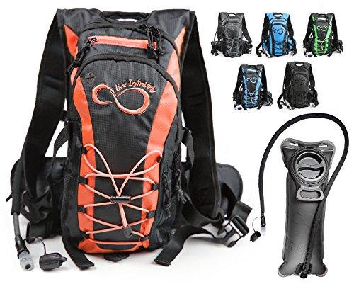 Live Infinitely-Trinkrucksack mit auslaufsicherem 2,0TPU-Trinksystem,600D,Polyester. verstellbare gepolsterte Schulter, Brust,Hüftgurte. Beißventil aus Silikon mit Sicherheitsverschluss. Orange