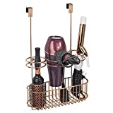 mDesign Hair Dryer Hanger with Wire Basket - Perfect Caddy for Accessories and Hair Styling Tools - Hanging Storage Basket for Accessories - Rose Gold