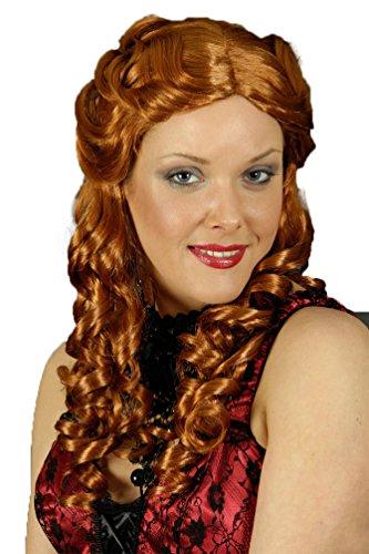 Karneval-Klamotten Perücke Saloon Girl Western Perücke Locken irisch-rot