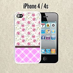 iPhone Case Glamour Royal Flowers for iPhone 4 /4s Rubber White (Ships from CA)