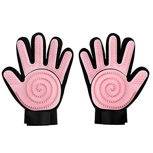 YY012 Haustier Bürsten Handschuh -Doppelseitig Möbel Haar Entferner Mitt zum Pet Hund Katze - Bade Massage Bürsten - Fell Werkzeug für Lange & Kurze Pelz (Color : Pink) - Haustier-haar-möbel-entferner