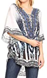 Sakkas P22 - Balloon Top Tallulah Wide Circle Bluse Poncho Top mit Tie-Neck-Gehäuse mit Bead - ZW129-White - OS