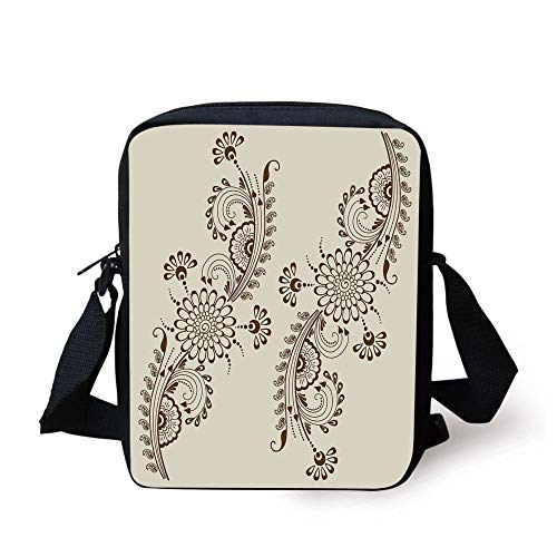 Henna,Abstract Floral Elements South Asian Mehndi Style Oriental Design Soft Color Scheme Decorative,Cream Brown Print Kids Crossbody Messenger Bag Purse -